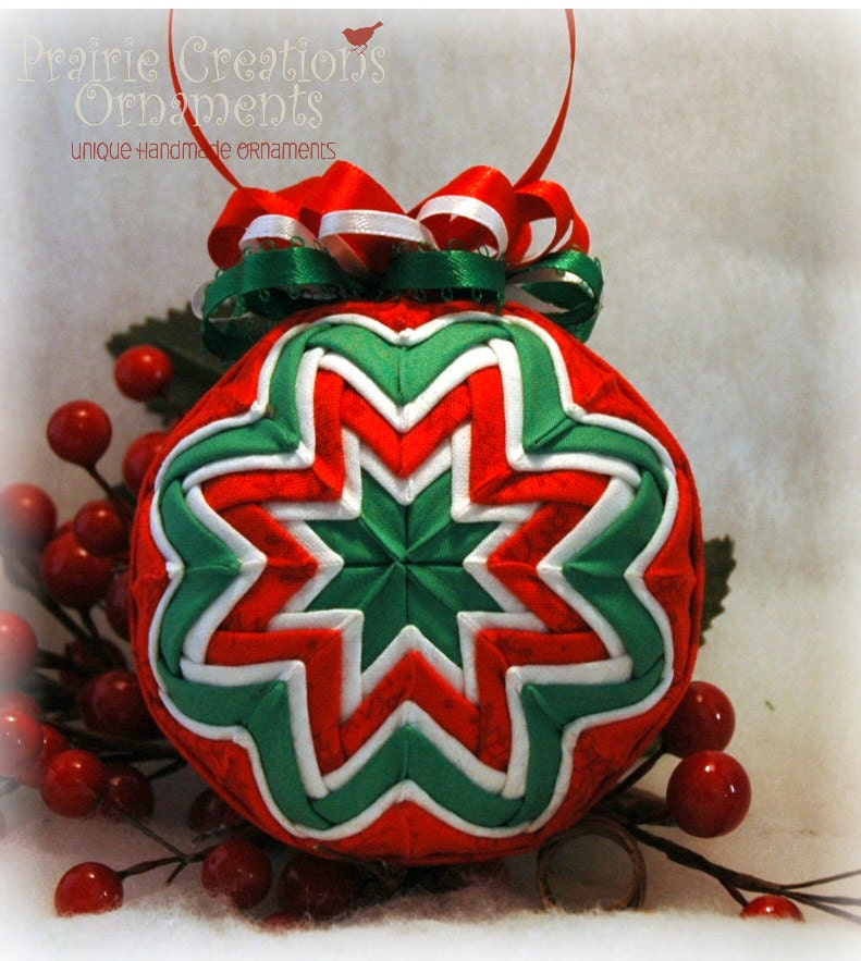 Quilted Christmas Ornament Red Green And White Handmade
