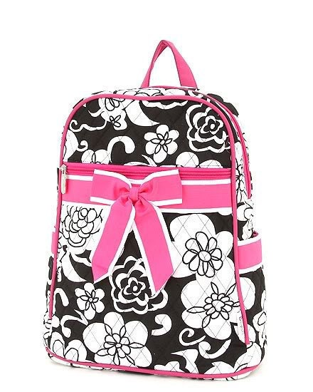 black and white floral backpack with pink by ladidaladyboutique