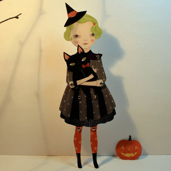 Sour Apple Souffle - articulated witch paper doll set with 8 silver brads and instructions