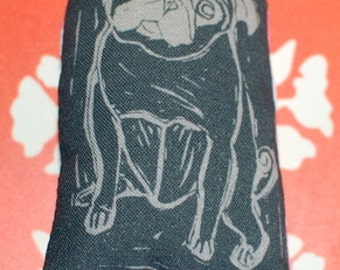 Tiny Pug Art Doll - Fiber Art - Olive - Black Pug