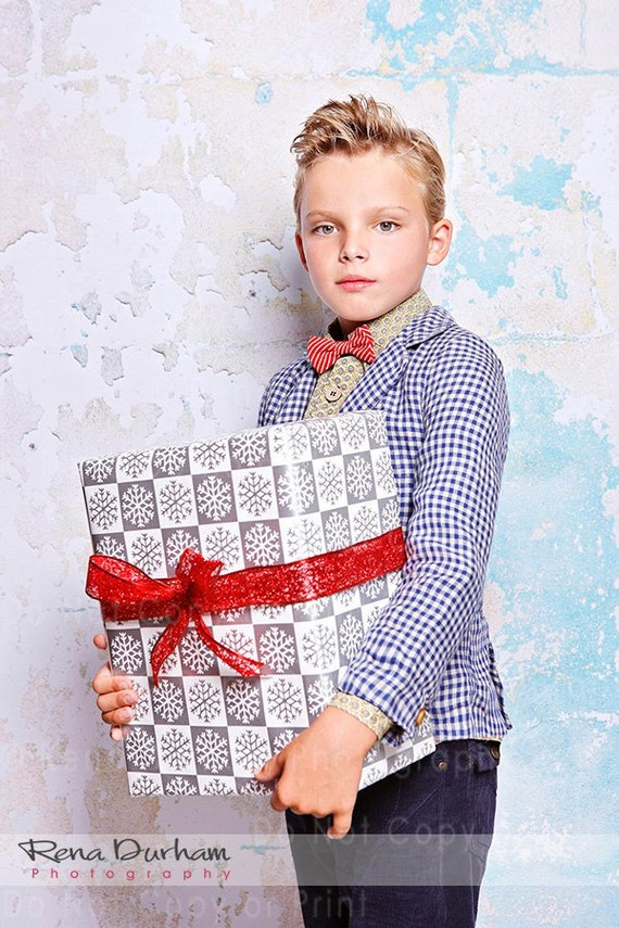 Boy's Bow Tie - Children's Christmas Red and White Striped Bowtie, Toddler Bow Tie, Baby Bowtie