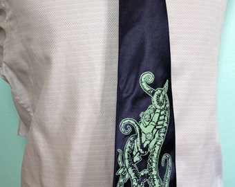 Navy Blue Necktie - 20,000 Leagues Tie - Men's tentacle and submarine Necktie