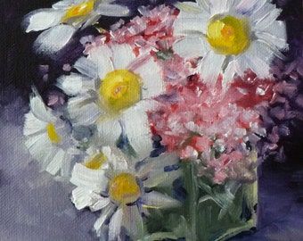 Floral Painting, Original Oil, 6x6 Canvas, Spring Flowers, White Yellow Daisy, Small Pink Botanical Art, Square Format, Summer Blooms