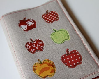Notepad Holder Organizer List Taker - Little Red Gold Green Apples and Linen