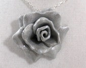 Rose Pendant / Necklace - Silver Colored Polymer Clay