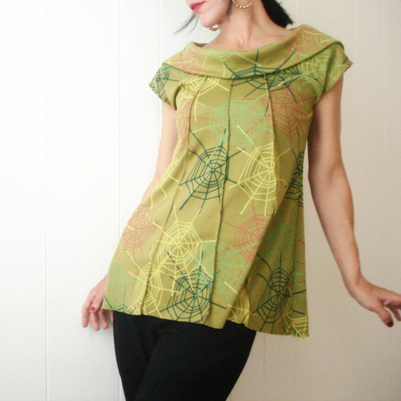 Secret Name - iheartfink Handmade Hand Printed Artistic Trapeze Cowl Blouse Top