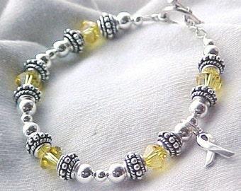 Spina Bifida Awareness Hand-crafted Sterling Silver & Swarovski Crystal Bracelet