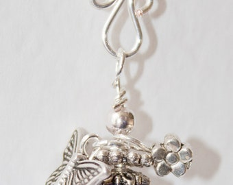 Handmade Silver Plated Midnight Indigo Lampwork Glass Flower Bead Pendant With Butterfly & Flower Charms