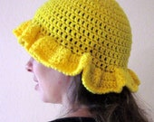 Crochet Hat - Yellow Daffodil Hat - Adult Small - Ready To Ship