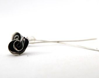 Sterling Silver Mini Rose Earrings with Long Stems