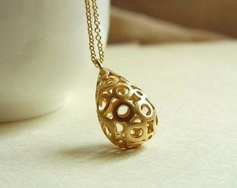 Matte Gold Circles and Twirls Filigree Teardrop Pendant Necklace // Matte Gold Cable Chain