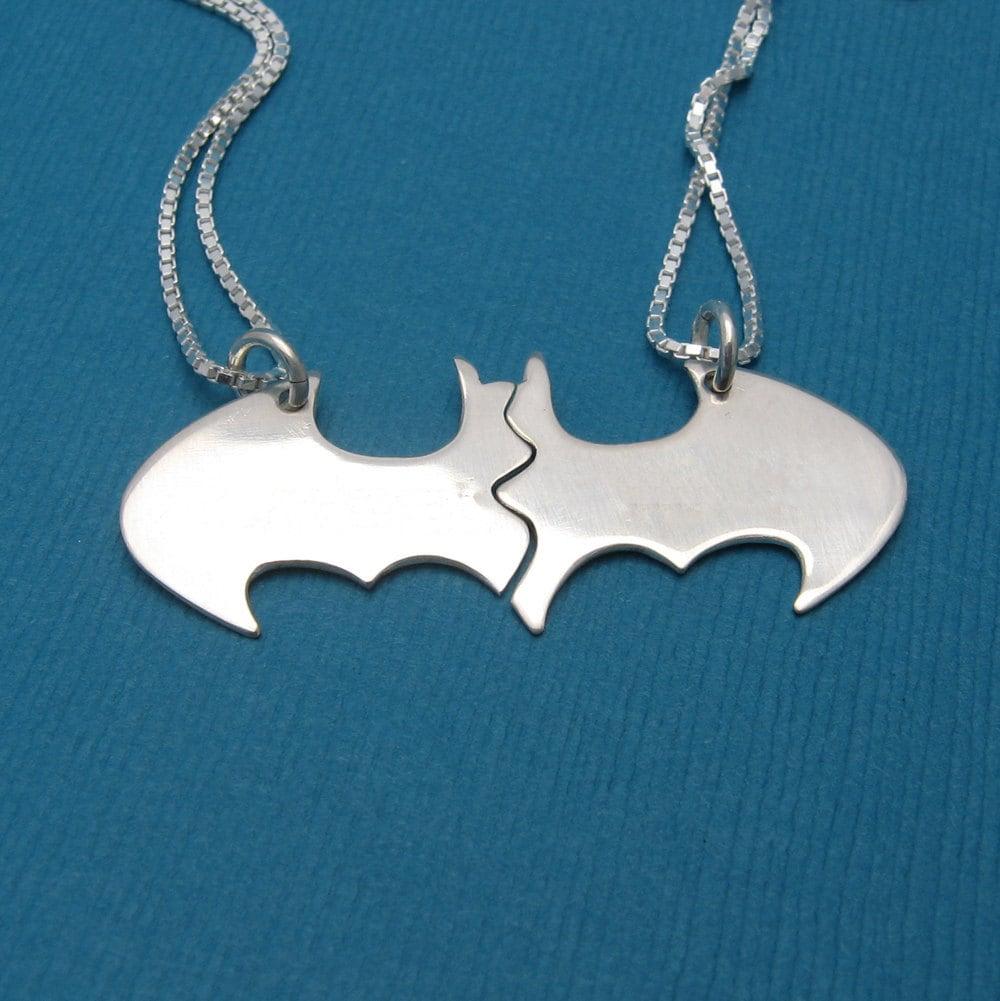 batman best friend necklaces blank on silver chains