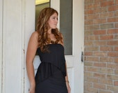 Peplum jersey strapless dress - eco friendly black bamboo