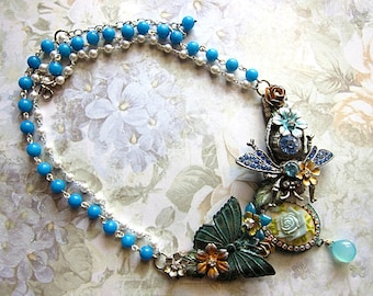 Nature Necklace, Bib Necklace, Beetle Necklace, Butterfly Necklace, Statement Necklace, Elegant Necklace, Blue Necklace, Flower Necklace