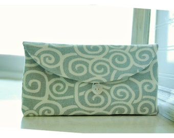 gray ivory Bridesmaids geometric swirls Clutch purse grey clutch Bridal Wedding  bag Gift Giving Make Up Travel Gadget ,Gift Under 25
