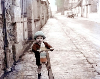 Art Photograph French Boy on His Scooter w Scarf Tinted Vintage Photo Print