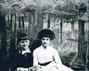 vintage photo tintype Civil WAr Era Sisters beautiful FOlk Art Painting backdrop