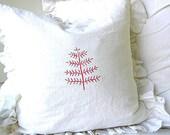 Made To Order White Linen Blend Christmas Tree Ruffle Pillow SLIP COVER