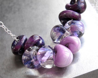 Ombre Purple Necklace - Gradient Lilac Lavender Purple Glass Bead Necklace, Purple Jewelry Glass Drop Beads, Sterling Silver, Modern Jewelry