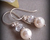 Bride Bridesmaids Earrings - Customizable Swarovski Pearl, Sterling Silver and Crystal - Bridesmaids Gifts - 3059