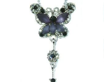 Swarovski Crystal BLACK BUTTERFLY  Bridal Wedding Flower Pendant Necklace New Christmas Gift