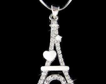 Swarovski Crystal Eiffel Tower Paris France Honeymoon enamel patined Heart Star Pendant Necklace Christmas Best Friend Gift New