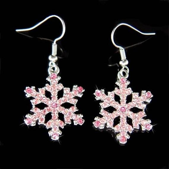 Swarovski Crystal Rhinestone Pink SNOWFLAKE Snow Flake Holiday Christmas Earrings Best Friend Gift New