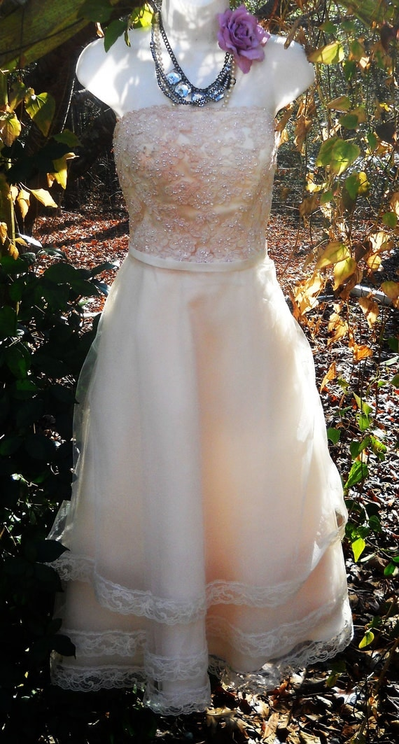 Beaded wedding dress nude blush tulle lace ruffles  prom  bohemian  small  by vintage opulence on Etsy