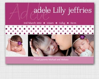 Modern photo birth announcement for baby girl AG002