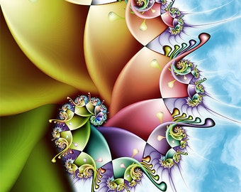 Rainbow Spiral Print - Colorful Fractal Art Perfect for Kids Rooms or Nursery