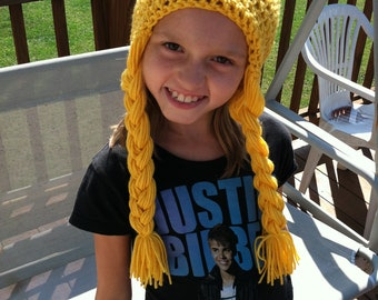 Rapunzel Crochet Wig Beanie Skullcap Hat-great costume idea