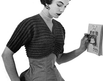 Vintage Knitted Bolero / Shrug Pattern - 1950s Ribbed Button-up Cuteness - PDF eBook