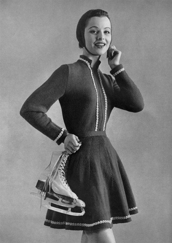 1950s Ice Skating Dress Winter Vintage Knitting Pattern