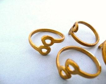 3 Brass Rivet Rings - Adjustable Steampunk