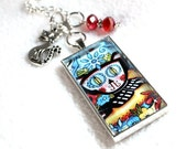 Cat Pendant, Day of the Dead Mexican Art Charm Necklace, Cat Necklace, Silver Chain, Black Cord,  Blue Black Red, Halloween Jewelry