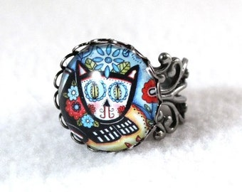 Cat Ring, Silver Day of the Dead, Mexican Style Art Ring, Filigree Cocktail Ring, Cat Jewelry, Original Cat Art Print, Turquoise Blue