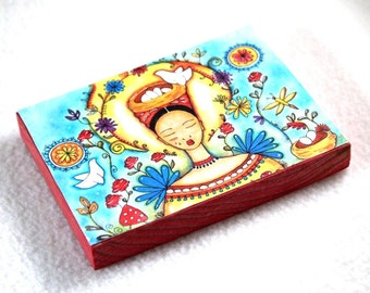 Fridge Magnet, Mexican Girl With Birds Art Print on Wood Block, ACEO ATC, Artist Trading Card, Original Art Print Magnet Red Blue