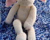 Soft All Cotton Hand Knit Bunny Plush