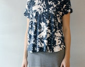 ready to ship // boxy tee / splatter blue / by replicca / size extra large