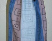 Greek Key and Houndstooth Wine Bottle Bag - Reversible - Drawstring - Reusable