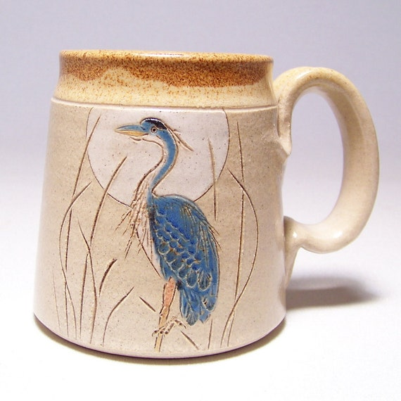 Great Blue Heron Pottery Coffee Mug Limited Series 194 (microwave safe) 12oz