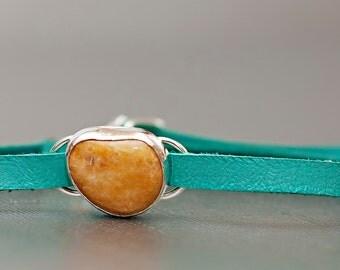 READY TO SHIP Honey Yellow Beach Stone Bracelet Turquoise Strap Adjustable