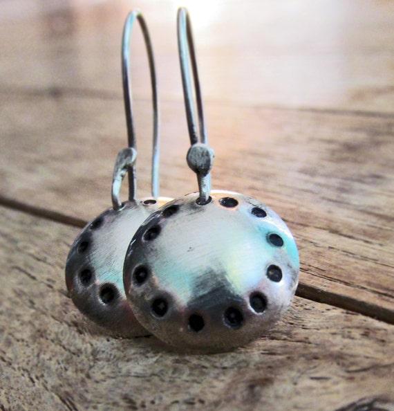SALE Domed Silver Dangle Earrings, Sterling Button Earrings