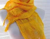 Wool Scarf, Nuno Felted Scarf - Golden Yellow Silk and Yellow Merino Wool 1158