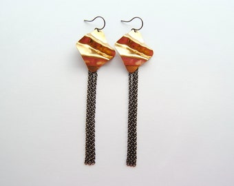 Geometric Gold & Fringe Earrings - FREE US Shipping