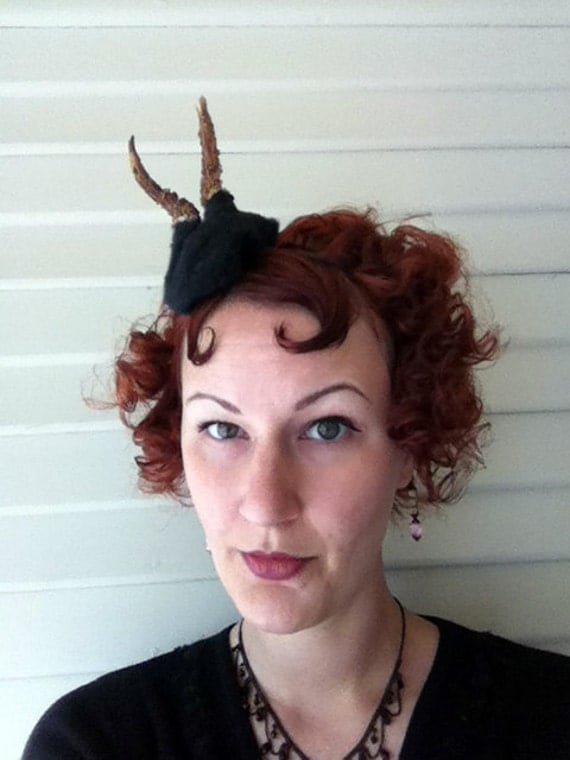 Sale - was 70 - Roe Deer Antler Headband - Black Forest Faun Fawn Halloween Costume