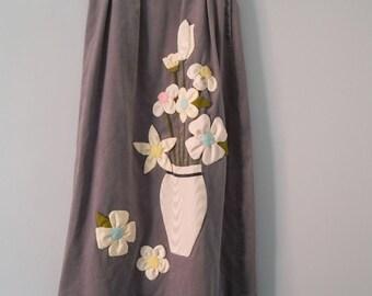 Applique Flower Vase Skirt 1970s Clothing Gray Velveteen Cotton xs s