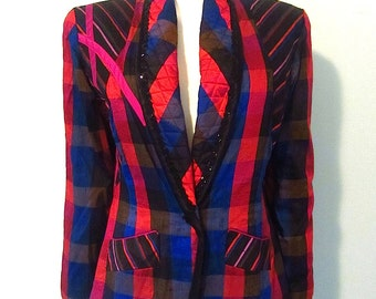 Vintage dupioni silk plaid abstract quilted jacket xs s