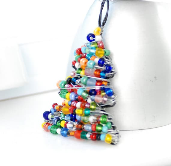 Christmas Ornament, Beaded Christmas Tree, Wire Tree, Christmas Tree Ornament, Holiday Home Decor, Christmas Decor, Colorful Ornament