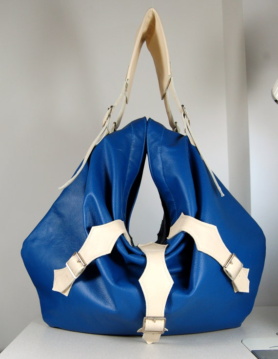 SALE WAS 300. Bright blue and cream leather tote bag with strap detailing, handmade.